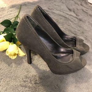Gray faux suede heels